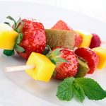 Fruit and bread kebabs