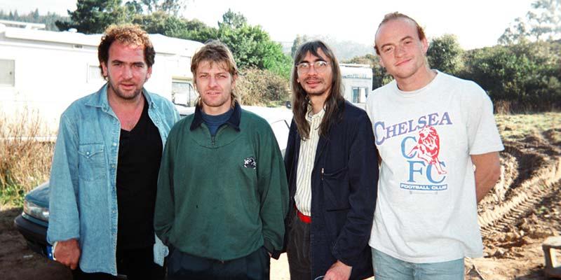 "Some of the cast of ""Sharpe"", from left: Daragh O'Malley who played Sergeant Harper, Sean Bean (Sharpe), John Tams (Rifleman Daniel Hagman), and Jason Salkey (Rifleman Harris)"