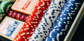 poker dice, cards and chips