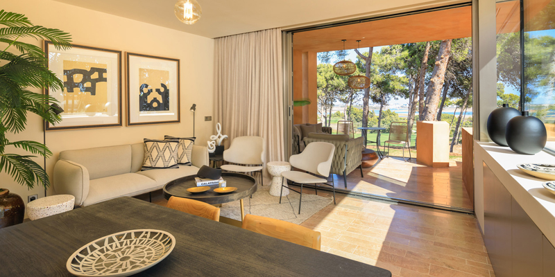 A living room at one of Palmares Ocean Living & Golf units