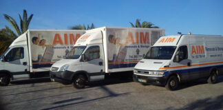 Vans of the removal company AIM Removals & Storage