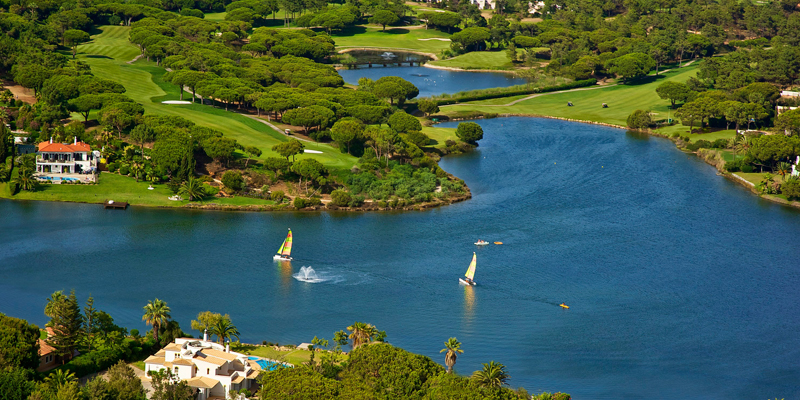 Aerial view of the Quinta do Lago resort highlighting its low housing density eco footprint