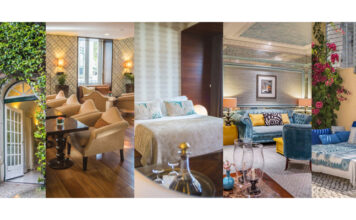 Collage with photos from the 5 Lisbon Heritage Hotelsunits that received the Loved by Guests 2021 award