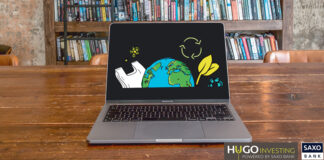 laptop with image of the earth plastic bag and recycle symbol referring to sustainable investments that need to be made