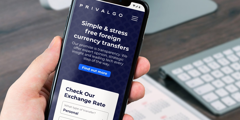 cellphone with privalgo website open on the device