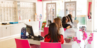 Partial view of the inside of one of Optimax's eyeware and glasses stores