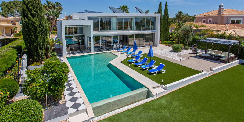 Aerial view of one of the villas Sandy Blue has in its rentals portfolio