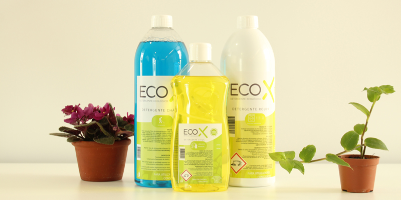 Several bottles of the new nationally produced and 100% eco-friendly detergents available at Lagos Intermarché